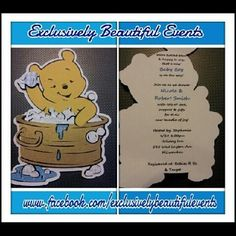 Winnie the Pooh Glittery 3D Baby Shower Invitations for a Boy « To order go to facebookcom/ExclusivelyBeautifulEvents
