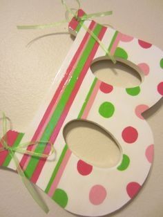 Custom Letter- Pink and Lime Green Stripes and Polka Dots- Hand Painted Childrens Initial Wooden Letter Wall Decoration Painted Initials, Wooden Initials, Painting Wooden Letters, Wooden Names, Painted Letters, Hand Painted, Door Crafts, Letter A Crafts, Wreath Crafts