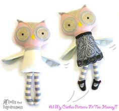 Owl PDF Sewing Pattern Softie Stuffed Toy by DollsAndDaydreams, 10.00