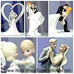 Noivinhos Topo de Bolo de Porcelana!  Seu bolo de casamento merece esse glamour.  www.NoivinhosTopodeBolo.com