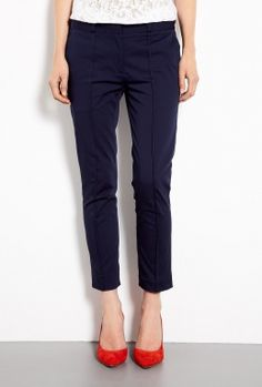 Navy Cropped Twill Chino Trousers by Victoria Beckham Denim