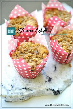 Banana Muffins with Walnut Crumble | Big Bang Bites | bigbangbites.com | Super…