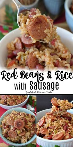 Red Beans and Rice with Sausage has smoked sausage mixed in with the red beans and tender rice easydinner homemade dinnertime savory greatgrubdelicioustreats Red Beans And Rice Recipe Easy, Easy Rice Recipes, Bean Recipes, Pork Recipes, Mexican Food Recipes, Crockpot Recipes, Cooking Recipes, Recipes Using Sausage And Rice, Louisiana Red Beans And Rice Recipe