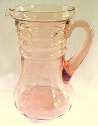 pink depression glass - Google Search Antique Dishes, Antique Glassware, Vintage Kitchenware, Vintage Dishes, Vintage Items, Glass Pitchers, Glass Dishes, Water Glass, Milk Glass