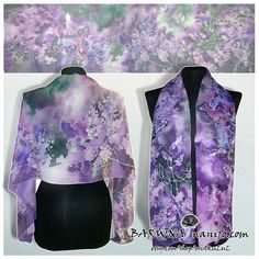 Violet silk scarf LILAC scarf hand painted scarves by MinkuLUL