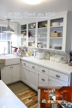 small kitchen remodel (around $600!) If we have a small kitchen, I will definitely want to do shelving and no door cabinets. I'd also paint the back of them a bright happy color :)