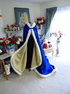 Beauty And The Beast Medieval Bridal cape Cobalt Blue / Gold Satin 52/67 inch Hooded with Fur Trim Wedding Cloak Handmade in USA by capeandcrown13 on Etsy
