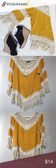 ✨NEW ARRIVAL✨mustard fringe blouse Gah I love this top so much  Mustard yellow fabric paired with the perfect fringe work   One tiny tiny tiny spot on front ( pictured)  65% rayon  35% acrylic GeeGee Tops Blouses