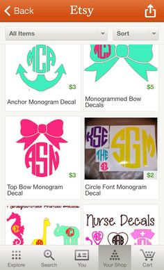 Monogram vinyl decals!!! Cheap too!! www.etsy.com/shop/MontanaJC is this real?!