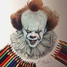 Beautiful colored pencil work by Emre Aydın dibujos realistas Creepy Drawings, Realistic Drawings, Cartoon Drawings, Arte Horror, Horror Art, Tatto Skull, Clown Paintings, Halloween Arts And Crafts, Penny Wise Clown