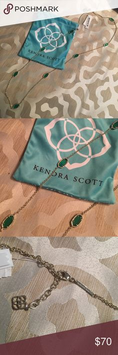 """Kendra Scott Kelsie necklace Green Kendra Scott Kelsie necklace! Brand new, never worn. Ticket still attached and comes with bag. Chain is 36"""" and adjustable- lobster clasp closure. Perfect for spring! Kendra Scott Jewelry Necklaces"""