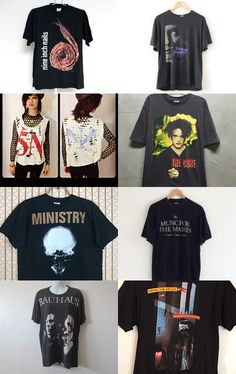 Vintage Industrial, Rock, Darkwave, Gothic, Synthpop T-Shirts by Kristin Short on Etsy--Pinned with TreasuryPin.com #etsy #treasury #bandtee #nineinchnails #ministry