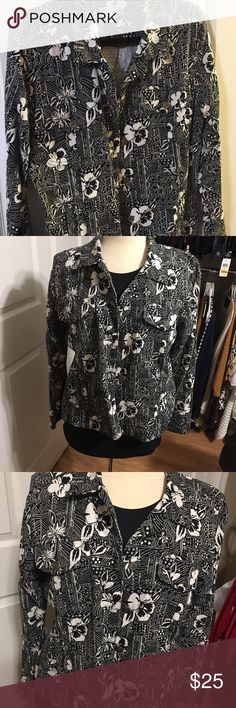 Ladies black and white jacket Ladies black and white floral print button front jacket. Some stretch. Very pretty. Christopher & Banks Jackets & Coats Blazers