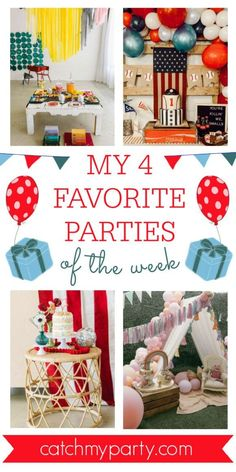 My favorite parties this week include a back to school party, a vintage baseball 1st birthday party, a 4th of July party, and a boho rainbow 1st birthday. See more party ideas and share yours at CatchMyParty.com #catchmyparty #partyideas #4favoritepartiesoftheweek #rainbowparty #backtoschoolparty #july4thparty #bohorainbowparty