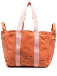 Acne Studios, Jeans Stretch, Orange Bag, Orange Pink, Designer Totes, Purse Styles, Printed Tote Bags, Gym Bag, Unisex
