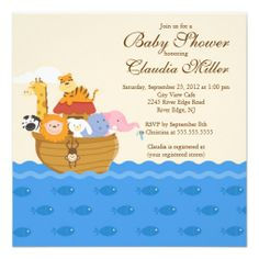 "Cute Noah""s Ark Baby Girl or Baby Boy Shower Announcement"