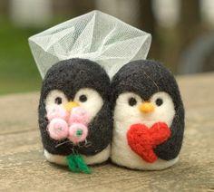 CUSTOM Needle Felted Wedding Cake Topper - Penguin Couple