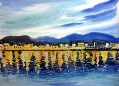 Watercolors, Watercolor Paintings, Chios, Night, Tv, Water Colors, Television Set, Watercolour Paintings, Watercolor