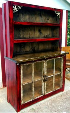 Distressed Buffet Hutch W Iron Accents And Antique Windows Handmade Rustic Furniture Hidden Compartment Furniture Secret Gun Compartment Refurbished Furniture, Paint Furniture, Repurposed Furniture, Furniture Projects, Custom Furniture, Furniture Makeover, Antique Furniture, Home Furniture, Wooden Furniture