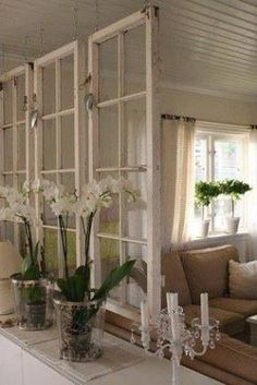 using old windows as room dividers by hester