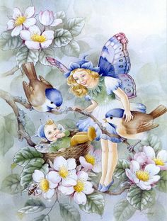 Fantasy Diamond Painting Kits that include Fairies and Dragons and all things fantasy. Beautiful Fairies, Beautiful Birds, Mosaic Birds, Butterfly Fairy, Vintage Fairies, Decoupage Vintage, 5d Diamond Painting, Flower Fairies, Fairy Art