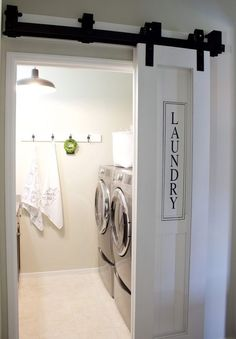 Farmhouse Laundry Room Barn Door. If There Is Not Enough Wall Clearance To Slide A 3 Ft Wide Door All The Way Back To Allow Access Into The Room, You Can Use The Bypass System Which Is 2 Smaller Doors That When Closed Create A Larger Door That Will Cover The Door Opening. When Sliding Them Open, One Door Will Slide Back Behind The Other Creating One Smaller Door. With 20 In Wide Each, Just Small Enough To Fit In A Tight Space But Combined At 40 In Would Be Able To Cover The 36 In Door…