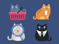 Cat Commerce Icons - love the blinking eyes! Visit the page for a bunch of fun cat cartoons.
