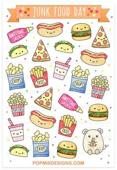 Junk Food Junk Food Stickers - stickers of cute kawaii plannersmatte sticker papersticker sheet is approx. Stickers Kawaii, Food Stickers, Cute Stickers, Anime Stickers, Doodles Kawaii, Food Doodles, Doodle Art, Doodle Drawings, Cute Food Drawings
