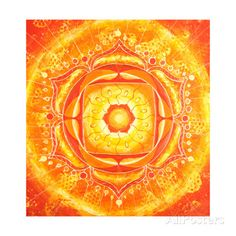 Abstract Orange Painted Picture with Circle Pattern, Mandala of Svadhisthana Chakra アートプリント