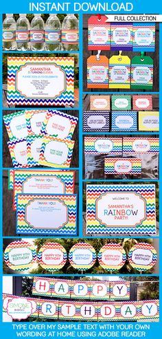 Instantly download my Rainbow Party Printables, Invitations & Decorations! Personalize the templates easily at home & get your Rainbow Party started now!