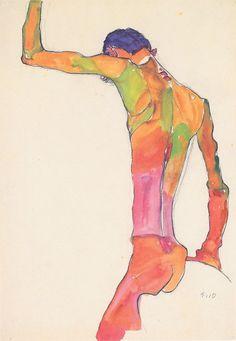 Egon Schiele, Männlicher Akt mit erhobenem Arm, 1910. He is one of my favorite artist