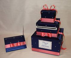 Navy Blue and Coral Reef Card Box and matching Guest Book/Pen-Rhinestone accents. ExoticWeddingBoxes on Etsy Money Box Wedding, Card Box Wedding, Gifts For Wedding Party, Wedding Ideas, Wedding Stuff, Wedding Photos, Wedding Decorations, Blue Coral Weddings, Coral Wedding Colors