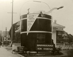 The Freezer (occasionally confused as the Samarkand Ice Cream Parlor), was a small chain of ice cream stands in Los Angeles. (Bizarre Los Angeles)