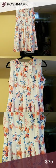 Floral dress This dress is PERFECT to add to your closet. The colors and design are perfect to wear this summer. It has a fitted flare look. Thick material. H&M Dresses