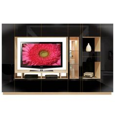 Isabella Wall Unit w Mirrored Display Glass Shelves and Lighting -Custom made with choice of finishes in any color in glossy/matte/glass or mirrored