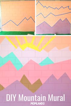 How to Paint Wall Murals for Kids – 5 Easy DIY Ideas — Momlando DIY Mountain Mural for your playroom or child's nursery. How to paint wall murals for kids. We have 5 easy DIY projects. Playroom Mural, Kids Wall Murals, Mural Wall Art, Bedroom Murals, Playroom Paint, Wall Decals, Diy Wall Painting, Mural Painting, Mountain Mural