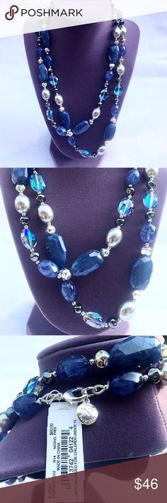 30% OFF BUNDLES-Blues/Pearl/Silver Beaded Necklace Jones New York Long Necklace in Blues/Silver/Crystal - New with Tags. Can be worn long or doubled for a shorter look. Gorgeous year-round necklace! MSRP is $60. Jones New York Jewelry Necklaces
