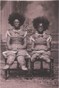 Alice Bounder, the Bear Woman. Her mother, with whom she is shown, was born in Calcutta, India. They were exhibited together as Mama Bear and the Bear Cub. She began her sideshow career at Dreamland in 1880.