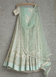 Lehengas by SwatiManish : Aqua lehenga and dupatta with white thread work