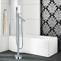 Moderne Art Deco Retro Badekar & Bruser Vandfald bred spary Håndbruser inkluderet Gulvstående Træk udsprøjte with Keramik