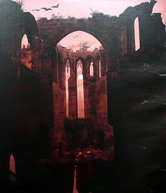 """~carfax abbey~ """"Ruine Oybin bei Mondschein"""" - Gemälde/Transparentbild, zugeschrieben Caspar David Friedrich; eventuell aber von seinem Schüler Ernst Ferdinand Oehme, 1810 oder 1832"""