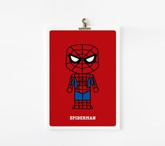 Super cool Spiderman Art Print by Loopz!  Say goodbye to boring old prints...  this super hero has been re-created!  This funky print makes a unique gift and is perfect to add a pop of colour to any super hero lovers room.. big or small!  #superheroprint #spidermanprint #kidsdecor #boysgifts #littlebooteekau