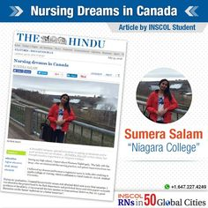 A proud moment! Sumera Salam – an INSCOL Student – shares her amazing experience at Niagara College in an article published in The Hindu newspaper (July Nursing Articles, Newspaper, Curriculum, College, Canada, Student, In This Moment, Education, City