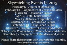 Slywatching Events In 2015!  More info here: http://homesteadingsurvival.com/skywatching-events-in-2015/