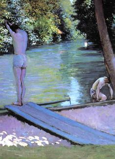 Gustave Caillebotte (French, 1848 - 1894) - Bather Preparing to Dive, Banks of the Yerres, c. 1888