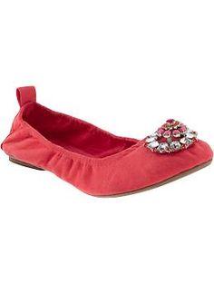 Womens Embellished Ballet Flats