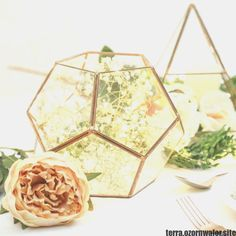 Glass Geometric Terrarium/ Wedding Table Decor/ Succulent Planter/Air Plants - Glass Decorating - Ideas of Glass Decorating - Glass Geometric Terrarium/ Wedding Table Decor/ Succulent Planter/Air Plants Price : Kit Terrarium, Terrarium Centerpiece, Lighted Centerpieces, Succulent Centerpieces, Succulent Terrarium, Centerpiece Ideas, Terrarium Plants, Gold Terrarium, Vase Ideas
