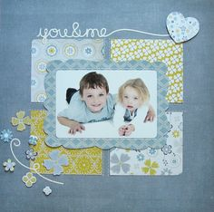 you & me,                 Pink Paislee's Indigo Bleu Collection #scrapbook layout. #scrapbooking