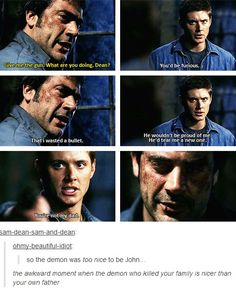 That awkward moment// how about when Kevin knew Crowley's demons weren't the Winchesters because they were too nice to him? Glad to see Sam & Dean carrying it on (see what I did there?)
