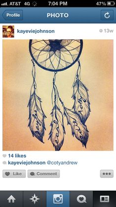 My family's names in the feathers ... I drew this for my brother but I'm getting it with his name instead of mine
